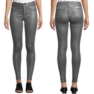 Rag and Bone GUNMETAL Metallic High Rise Jean A1